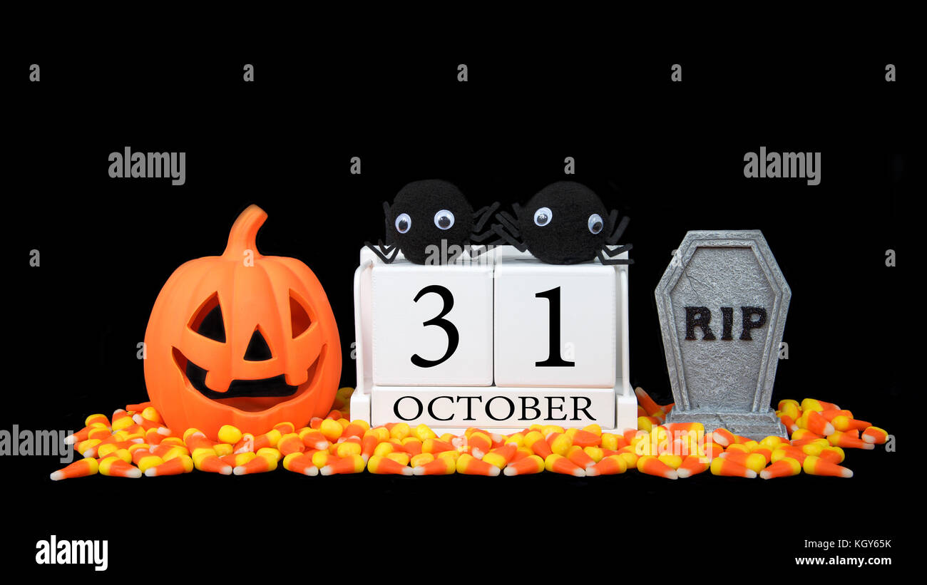 Data Di Halloween.Calendario In Legno Blocchi Raffigurante La Data Per La Festa Di