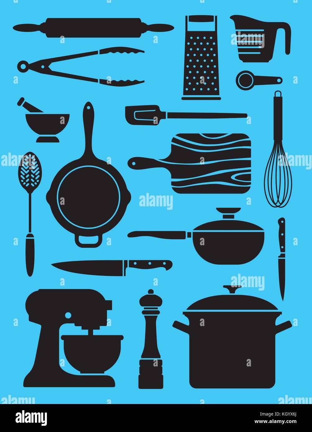 Set di utensili da cucina 17 illustrazioni. collage o pattern di ...
