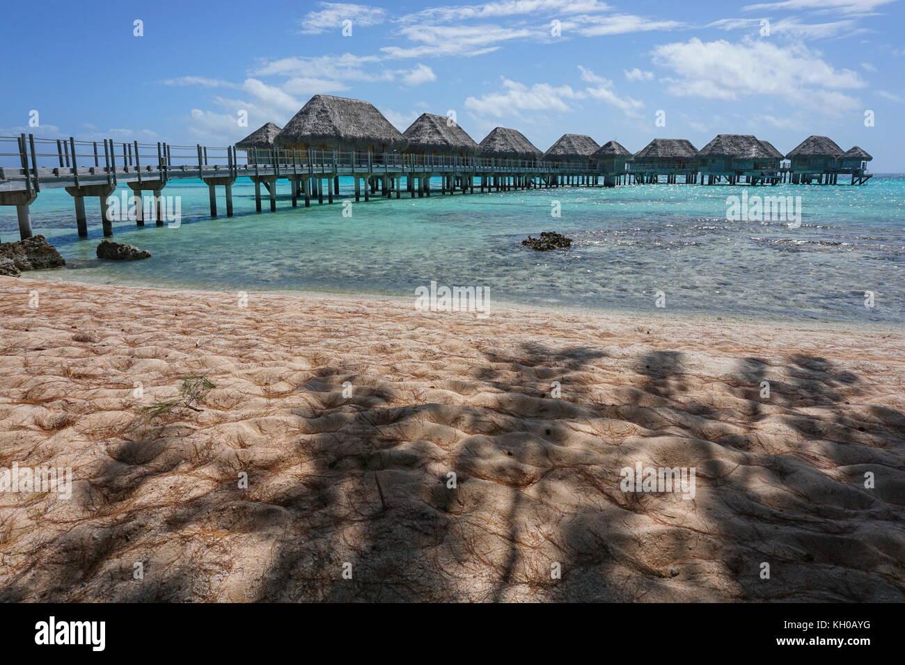 Laguna tropicale con bungalow Overwater di un resort visto da una spiaggia di sabbia con ombra di alberi, tikehau, Immagini Stock