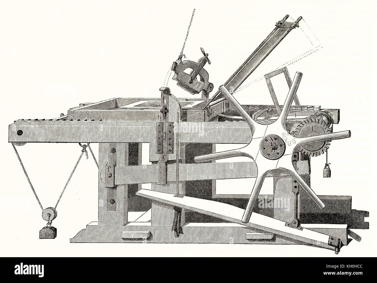 Vecchia illustrazione di una pressa di litografia. Da autore non identificato, publ. su Magasin pittoresco, Parigi, Immagini Stock