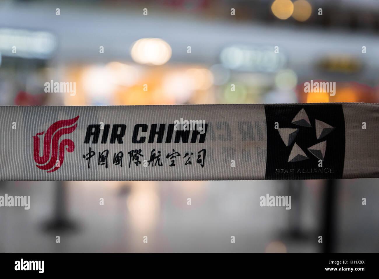 Pechino, Cina - ottobre 2017: Air China Company logo all'aeroporto di Pechino in Cina. air china è la compagnia Immagini Stock