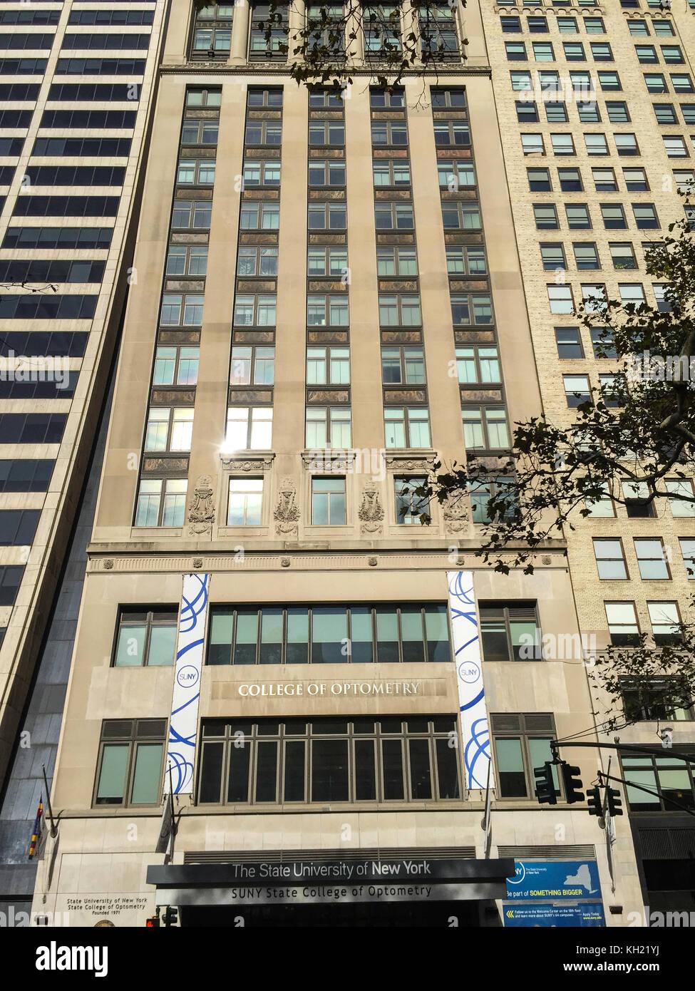 L'università di stato di new york, college di optometria, NYC Foto Stock
