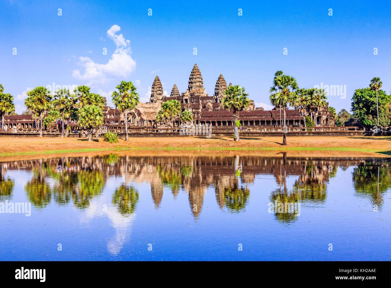 Angkor Wat, Cambogia. Vista dal davanti al lago. Immagini Stock