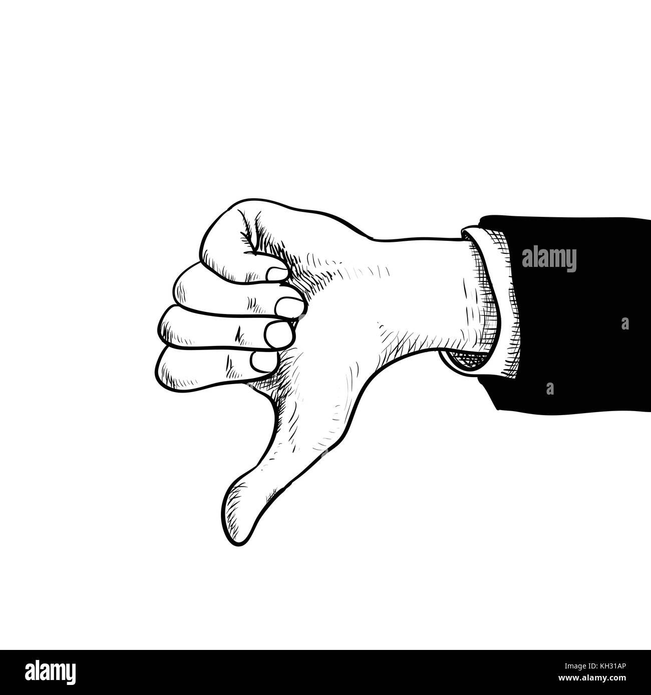 Imprenditore mano pollice in giù, mano nella tuta che mostra il pollice verso il basso, isolato su sfondo bianco Immagini Stock