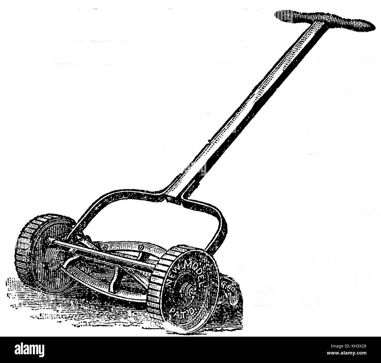 Un cilindro (aspo) falciatrice da 1888 mostra una lama di taglio fissa nella parte anteriore del rullo posteriore Immagini Stock