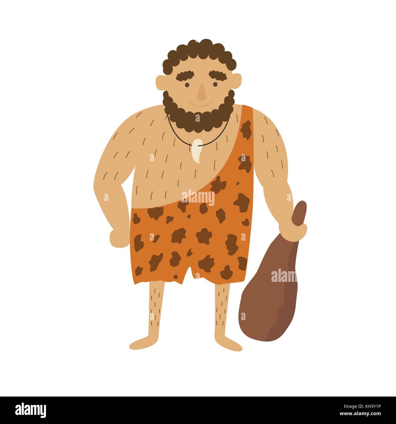 Età della pietra uomo primitivo in animale nascondi pelt con grandi