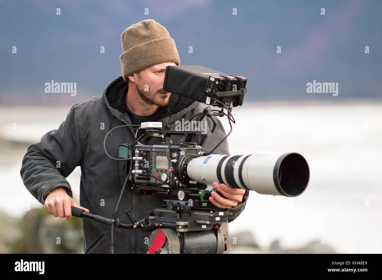 Nick operanti ad alta velocità flex phantom 4k la telecamera video con la Canon 200-400mm f4.0 obiettivo zoom Immagini Stock
