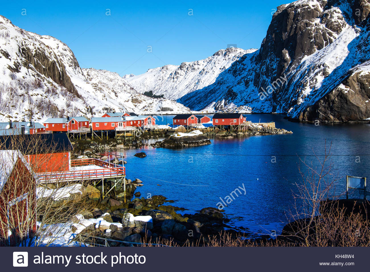 Nusfjord, nusfjorden, flagstadøya, Lofoten, Nordland, Norvegia, marzo 2017 Immagini Stock