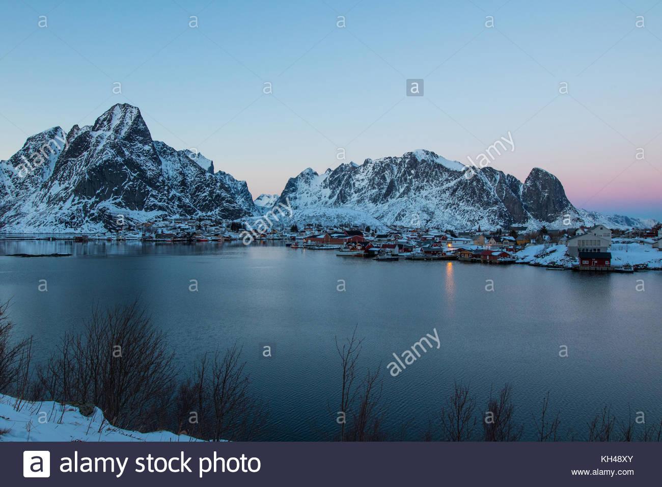 Reine, moskenes, moskenesøya, Lofoten, Nordland, Norvegia, marzo 2017 Foto Stock