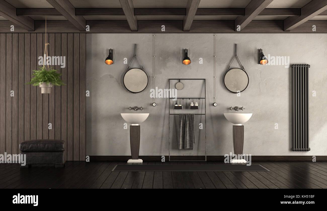 Bagno Legno Rustico : Rustico bagno con lavandini scuro pannellatura in legno e
