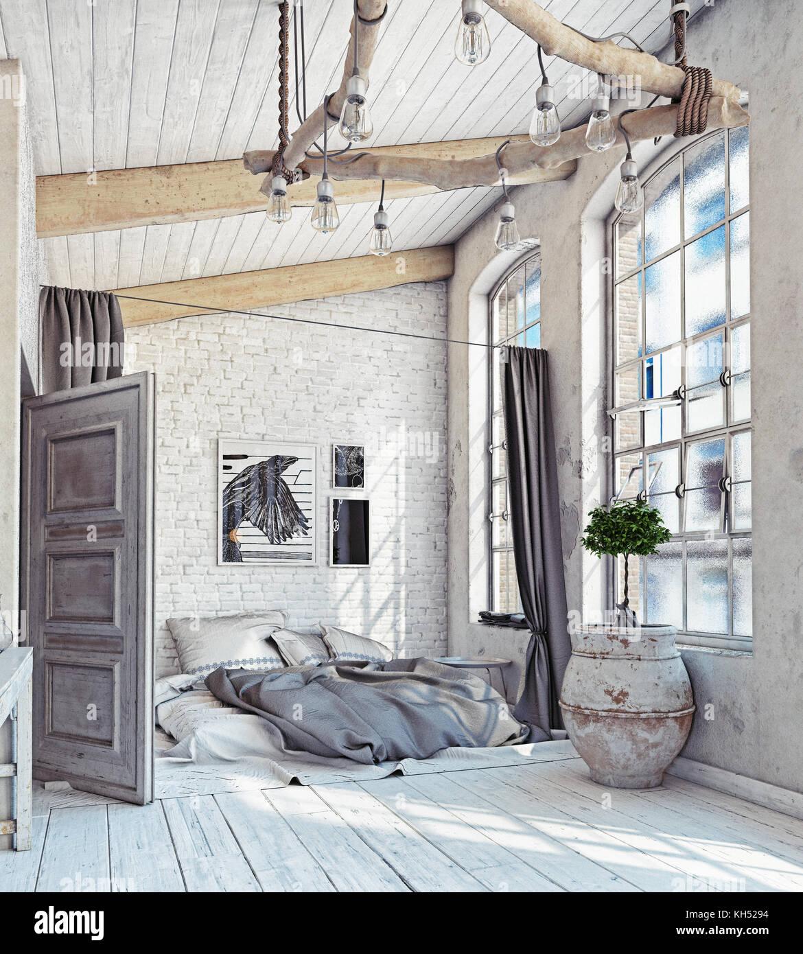 Lo stile scandinavo interni. camera da letto mansarda. Il rendering ...
