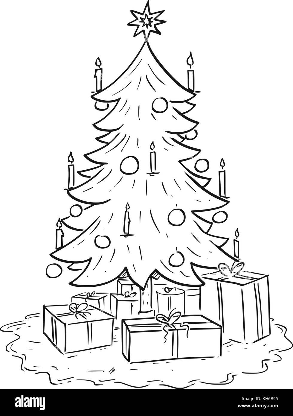 Disegno Del Fumetto Illustrazione Del Natale Di Abete O Abete Con