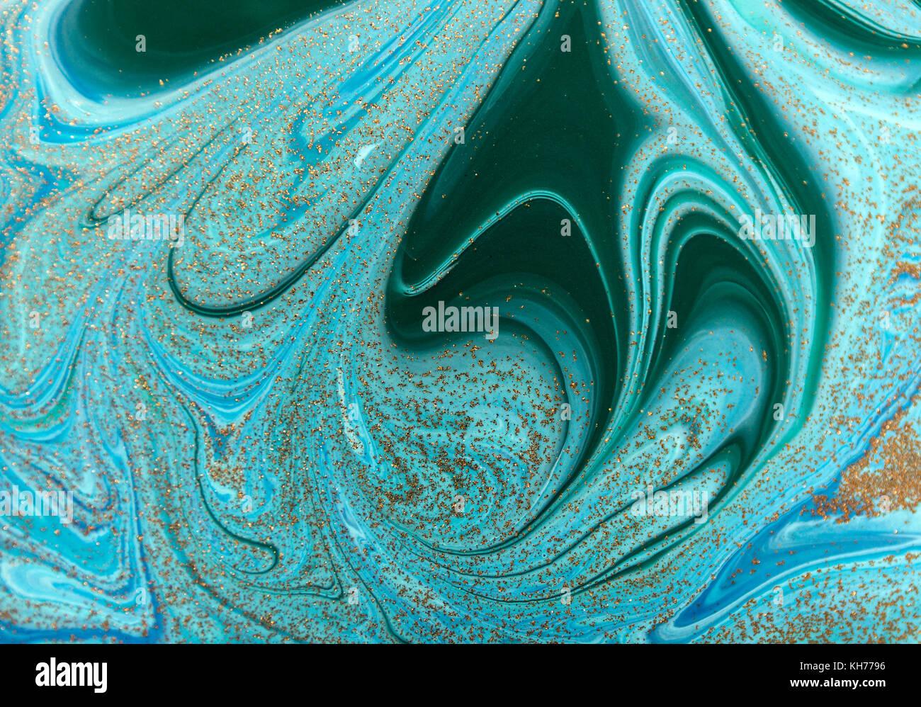 In Marmo Verde E Blu Sullo Sfondo Astratto Con Paillettes Dorate