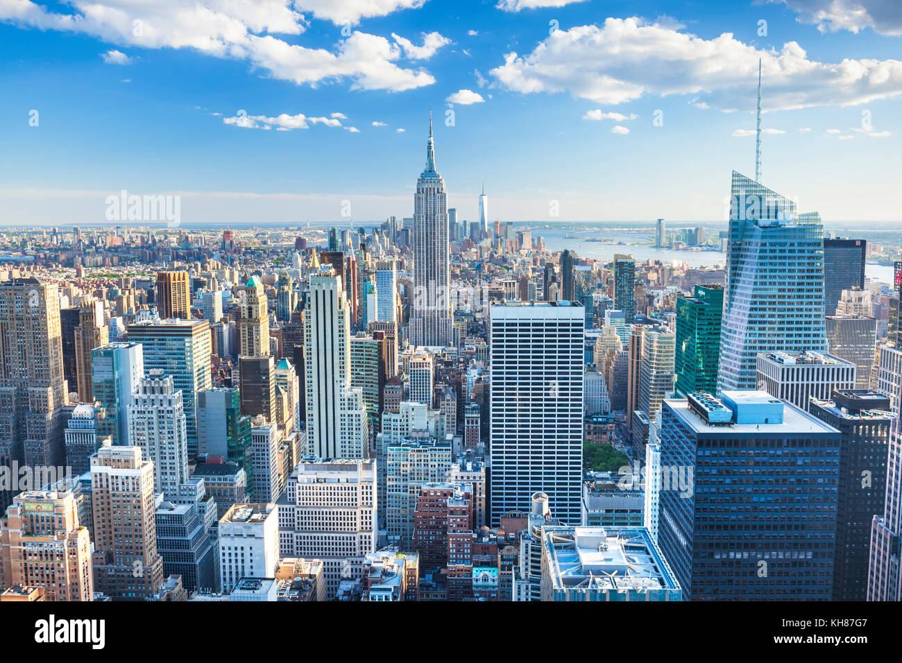 Skyline di Manhattan, New York skyline, Empire State Building di New York City, Stati Uniti d'America, America Immagini Stock