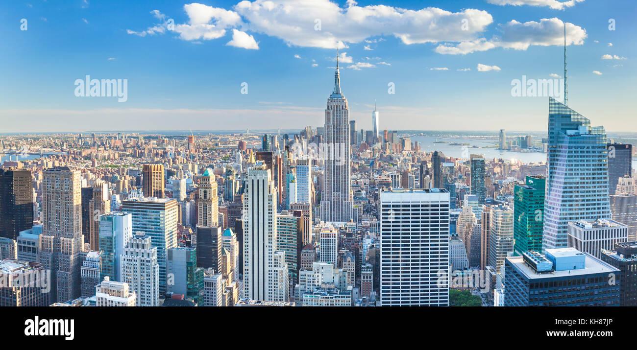 Skyline di Manhattan, New York skyline, Empire State Building di New York skyline della città degli Stati Uniti d'America, America del nord Stati uniti new york new york Foto Stock