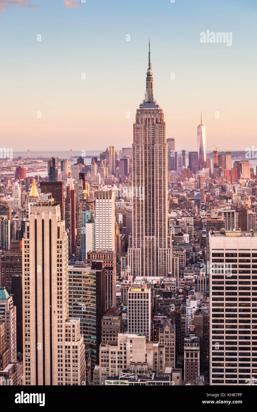 Skyline di Manhattan, New York skyline, Empire State Building di New York skyline della città degli Stati Uniti Immagini Stock