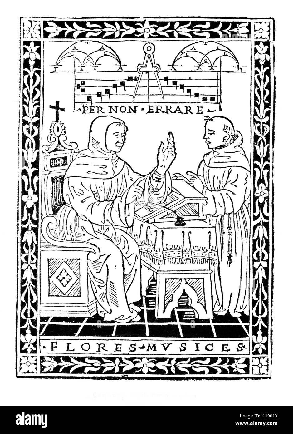 """Pietro di cannuzi musicale del trattato """"gule musices florum"""" , Firenze , 1510. Immagini Stock"""