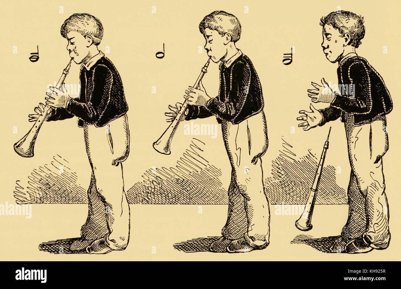 """""""Clarinetto school' ('klarinetten schule') - caricatura pubblicato in düsseldorfer monatsheften, Immagini Stock"""