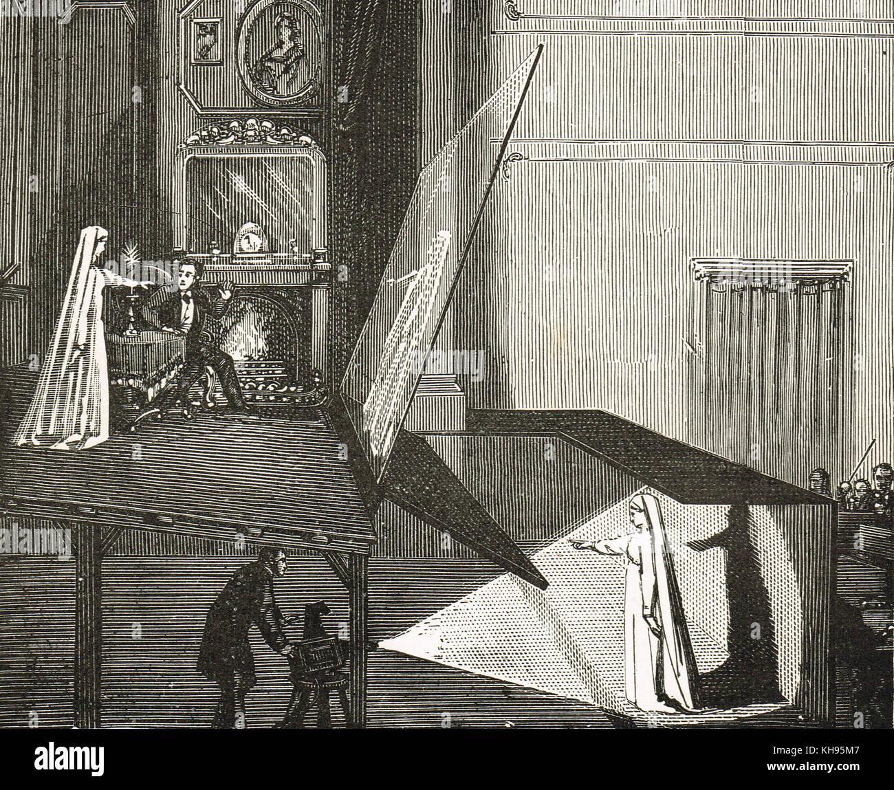 Pepe del fantasma, un illusione tecnica utilizzata nel teatro per fare un fantasma appaiono sul palco Immagini Stock