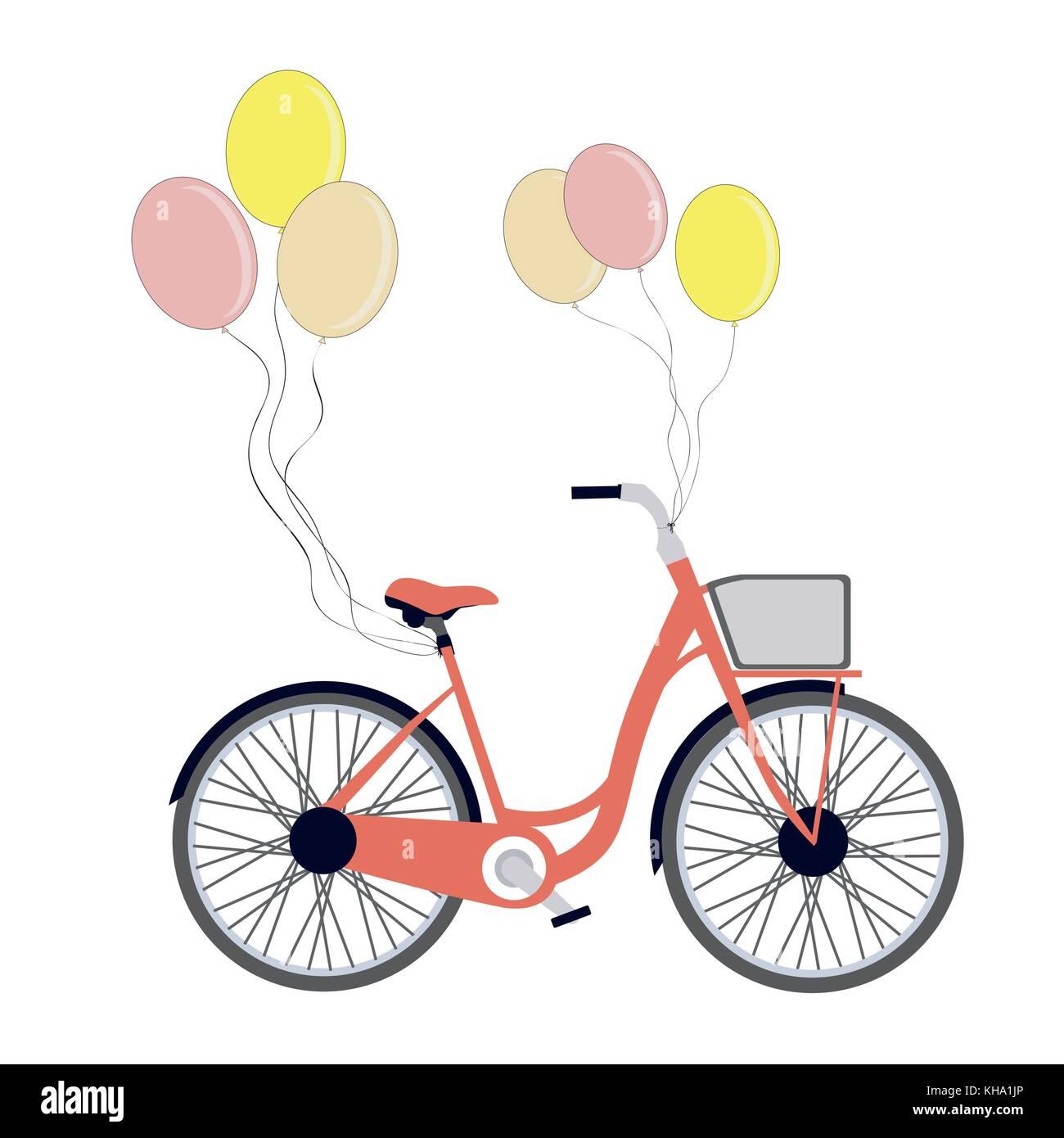 Bicicletta Con Palloncini Isolato Su Bianco Vintage Bicicletta