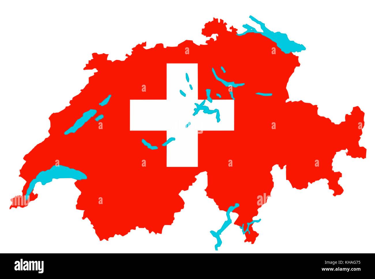 La Svizzera Cartina.Cartina Della Svizzera Con I Colori Della Bandiera Svizzera Foto Stock Alamy