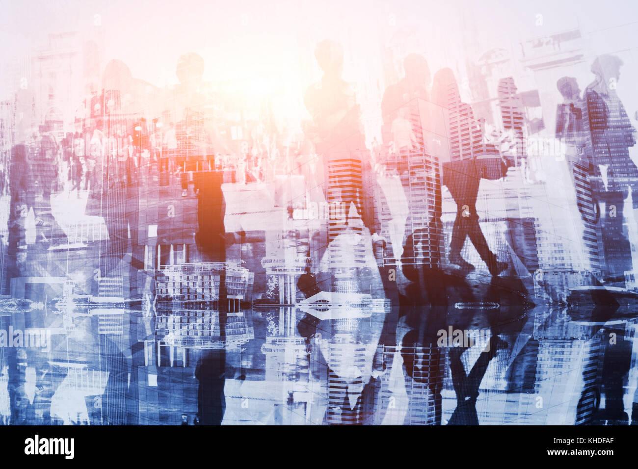 Sagome di uomini di affari, abstract folla doppia esposizione Immagini Stock