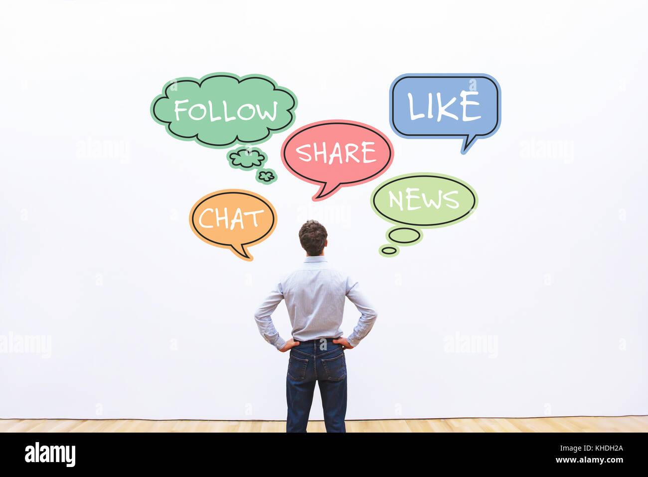 I social media e il concetto di business Immagini Stock