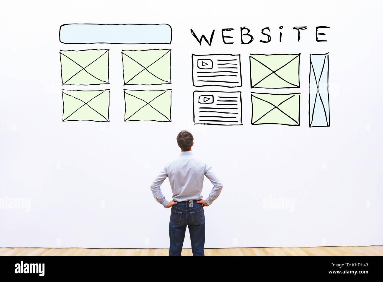 Il layout del sito web, schizzo web design della homepage Immagini Stock