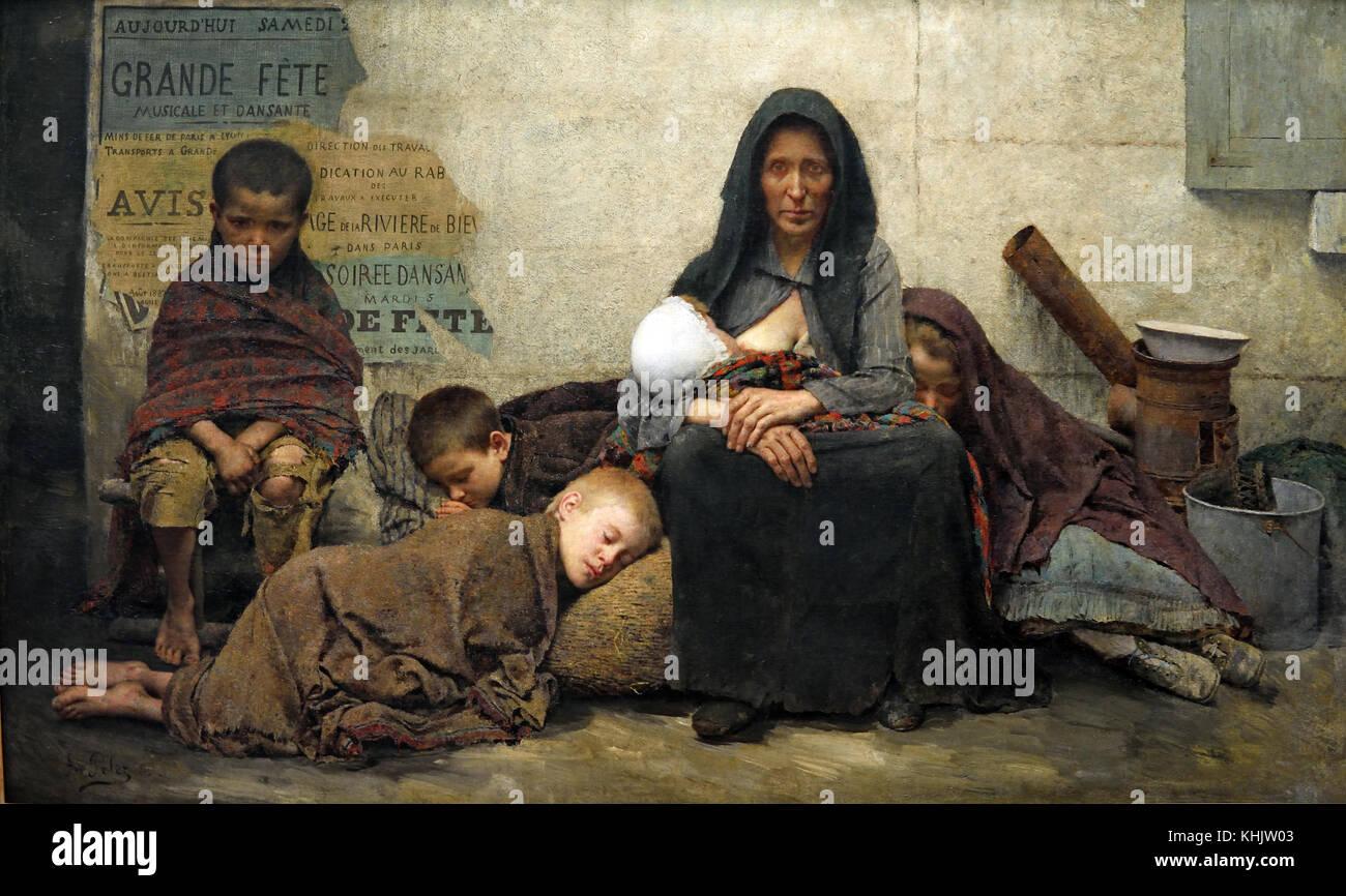 Sans Asile - Senza asilo 1883 Fernand Pelez 1843 - 1913 pittore francese di origine spagnola che ha lavorato a Parigi. Immagini Stock
