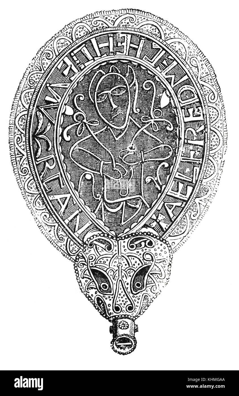 Il Gioiello di Alfred è un pezzo di anglosassone lavoro orafo fatte di smalto e quarzo racchiuso in oro. È Immagini Stock