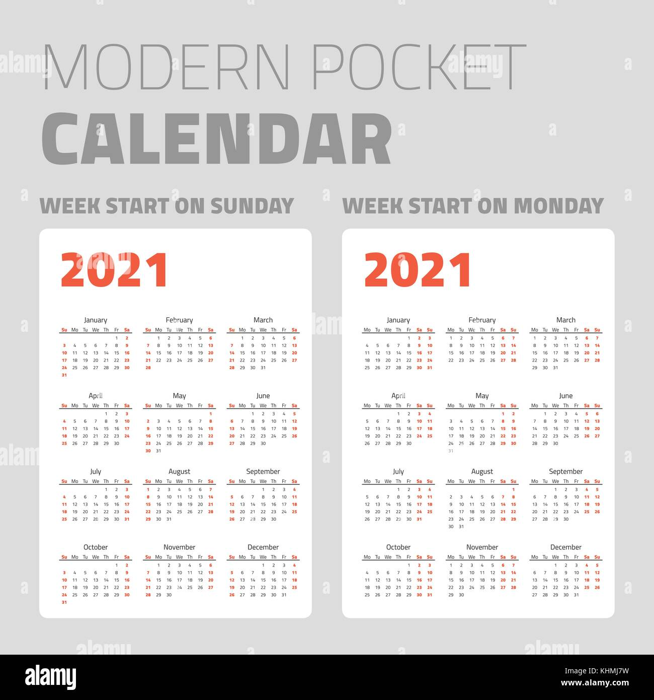 Moderno calendario tascabile serie 2021 Immagine e Vettoriale   Alamy