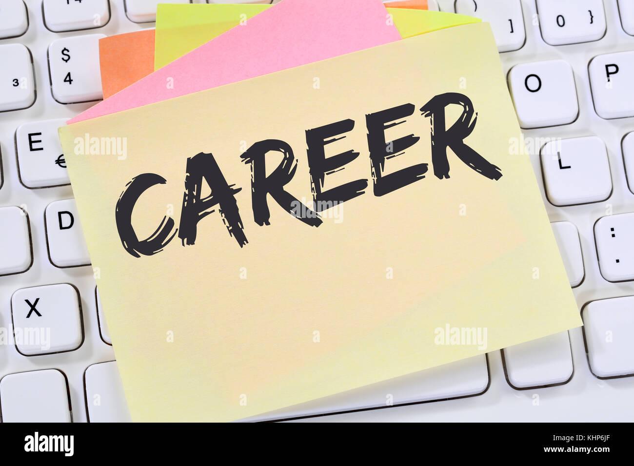 Opportunità di carriera obiettivi di successo e nota per lo sviluppo del business di carta concetto della tastiera Immagini Stock