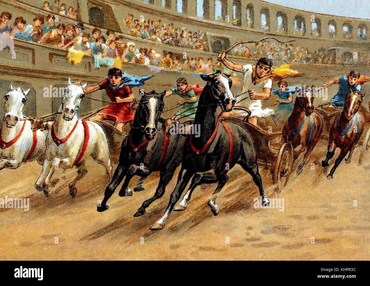 Chariot racing nella Roma antica su di una carta di sigaretta circa 1910 Immagini Stock
