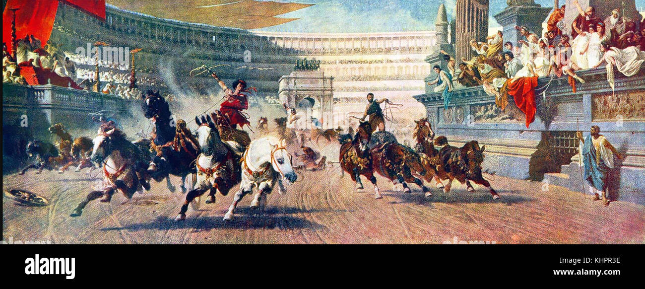 Chariot racing nella Roma antica. una pittura ottocentesca. Immagini Stock