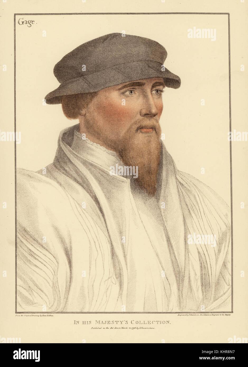 Sir John Gage, inglese cortigiano e uomo politico, 1479-1556. Handcolored incisione su rame da Francesco Bartolozzi Immagini Stock