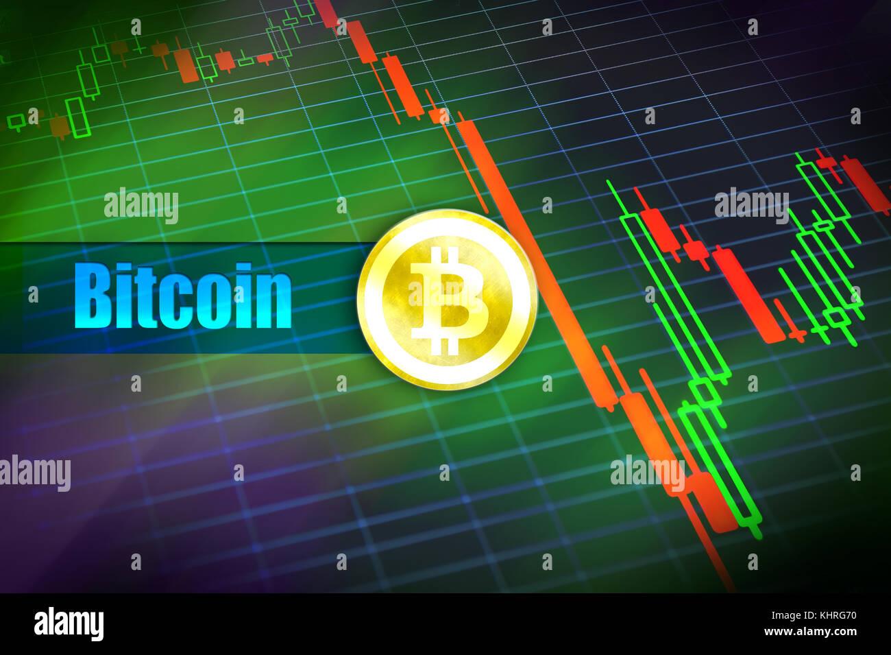 Bitcoin volatilità. rapido cambiamento, caduta di prezzo bitcoin grafico. segno di bitcoin a moneta in oro. Immagini Stock