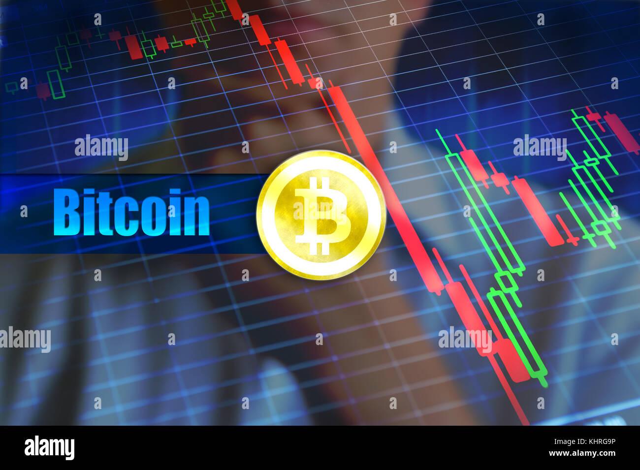 La volatilità bitcoin concetto. rapido cambiamento, caduta di prezzo bitcoin grafico. Concetto di immagine, Immagini Stock