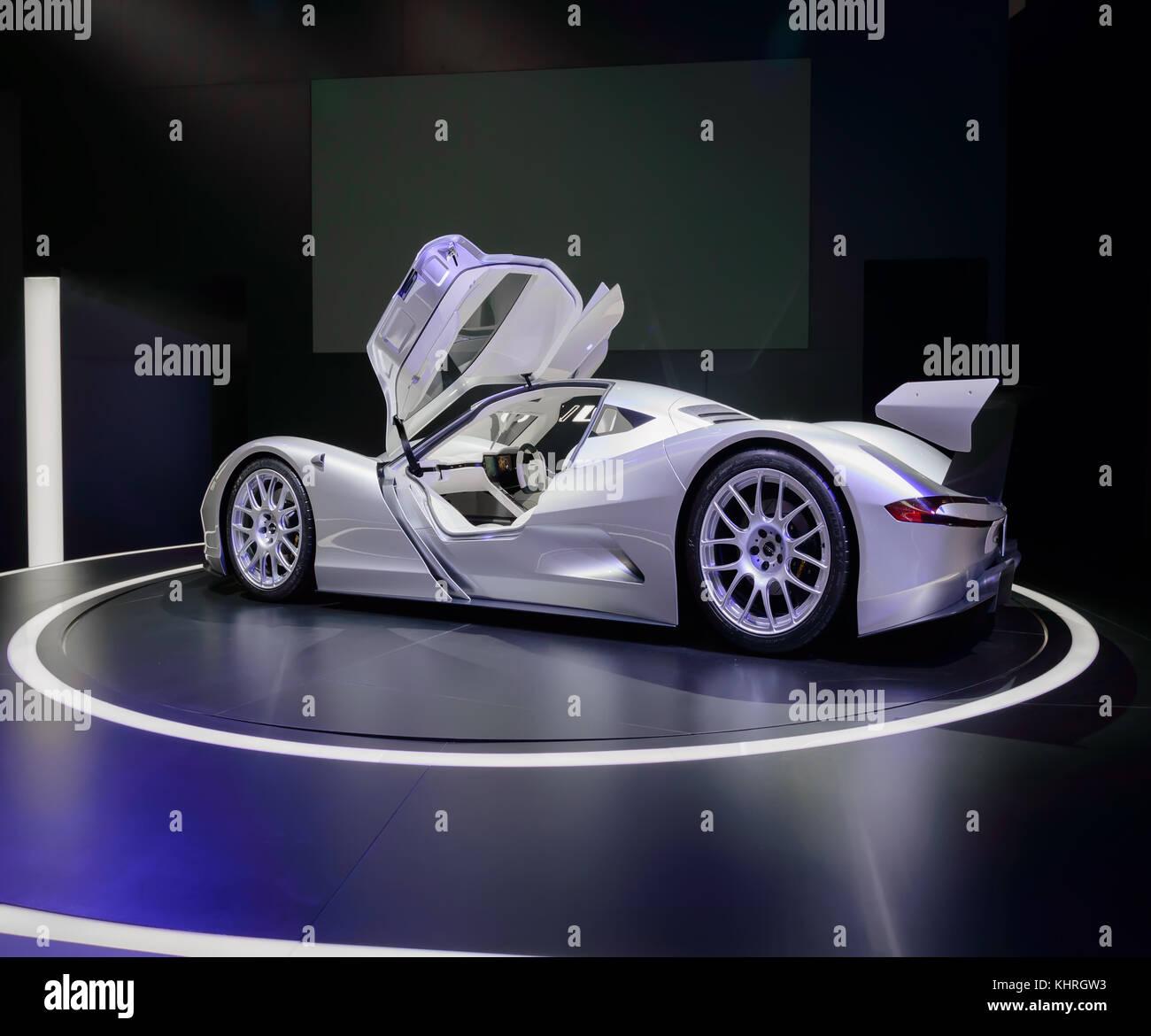 Francoforte, Germania - Sep 17, 2017: aspark owl, supercar elettrica dal Giappone, è il più veloce in Immagini Stock