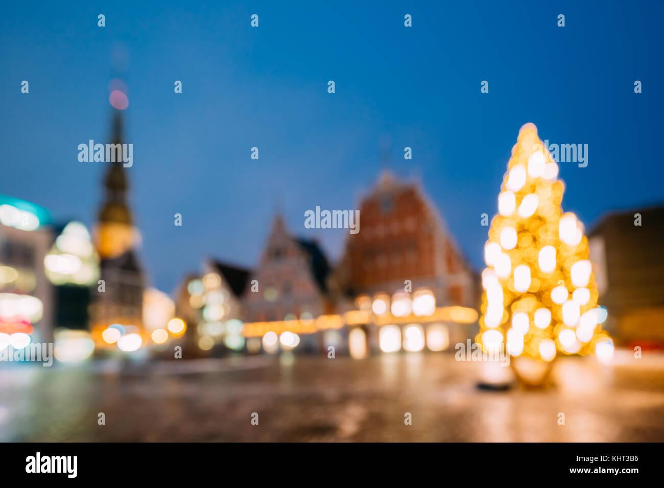 Riga lettonia nuovo anno luci boke xmas decorazione per albero