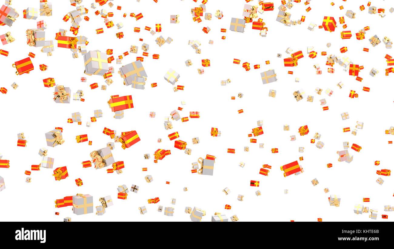 Pioggia Di Molti Oro Bianco E Oro Rosso Doni Con Uno Sfondo Bianco