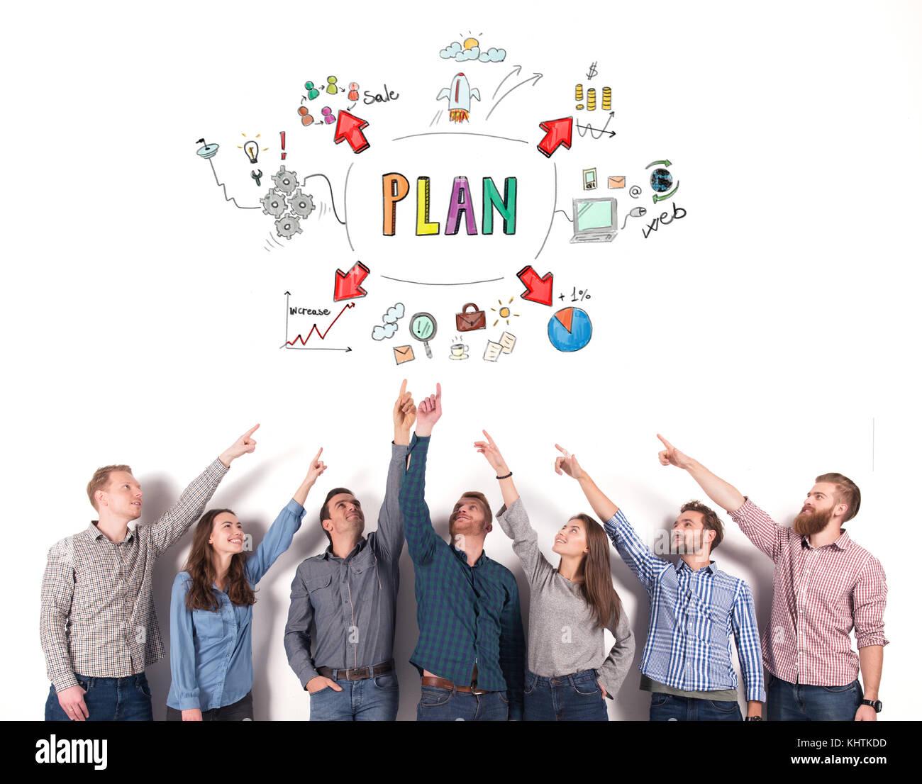 Il team Aziende di indicare un progetto di business. concetto di idea creativa e il lavoro di squadra Immagini Stock