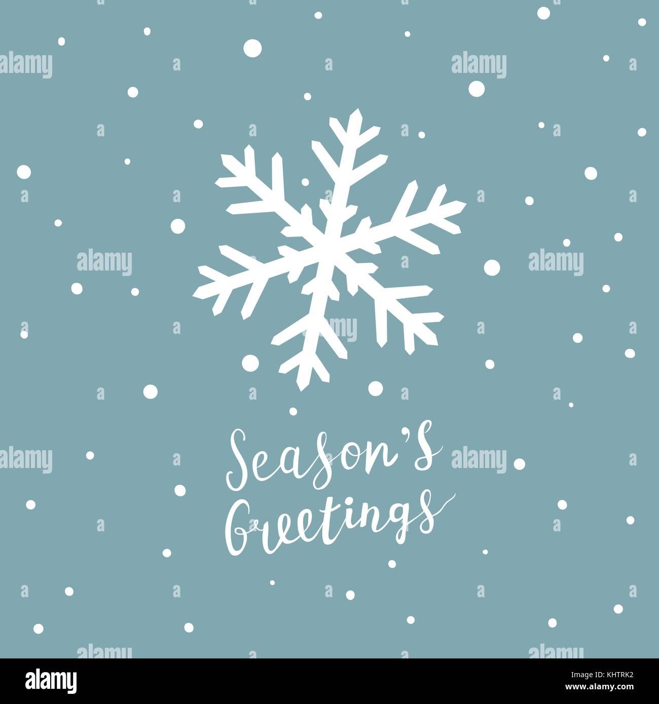 Scheda di natale con il simbolo del fiocco di neve e scritto a mano scritte, natale elementi di design Immagini Stock