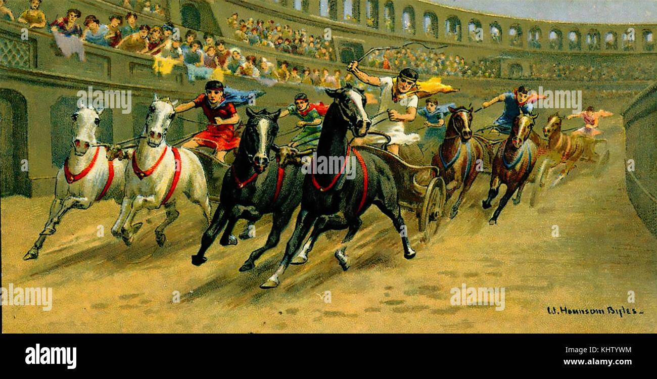 Gara delle bighe nell antica Roma da una carta per sigarette circa 1910 Immagini Stock
