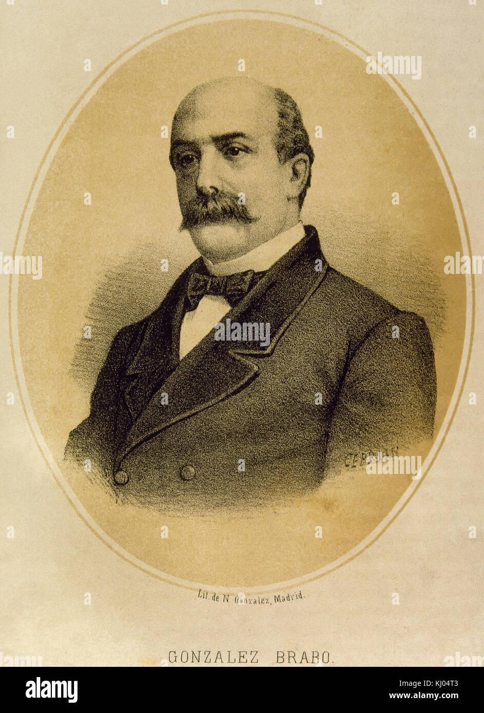 """Luis Gonzalez bravo (1811-1871). giornalista e politico spagnolo. fondatore del giornale satirico """" el guirigay', Immagini Stock"""
