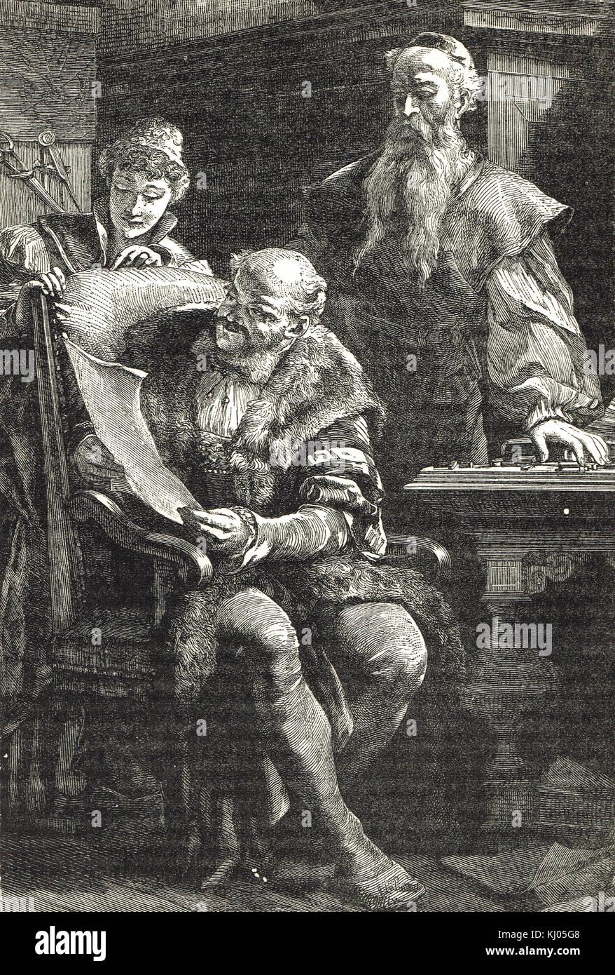 Gutenberg Mostra Fust (anche farro Faust) il primo libro stampato Immagini Stock