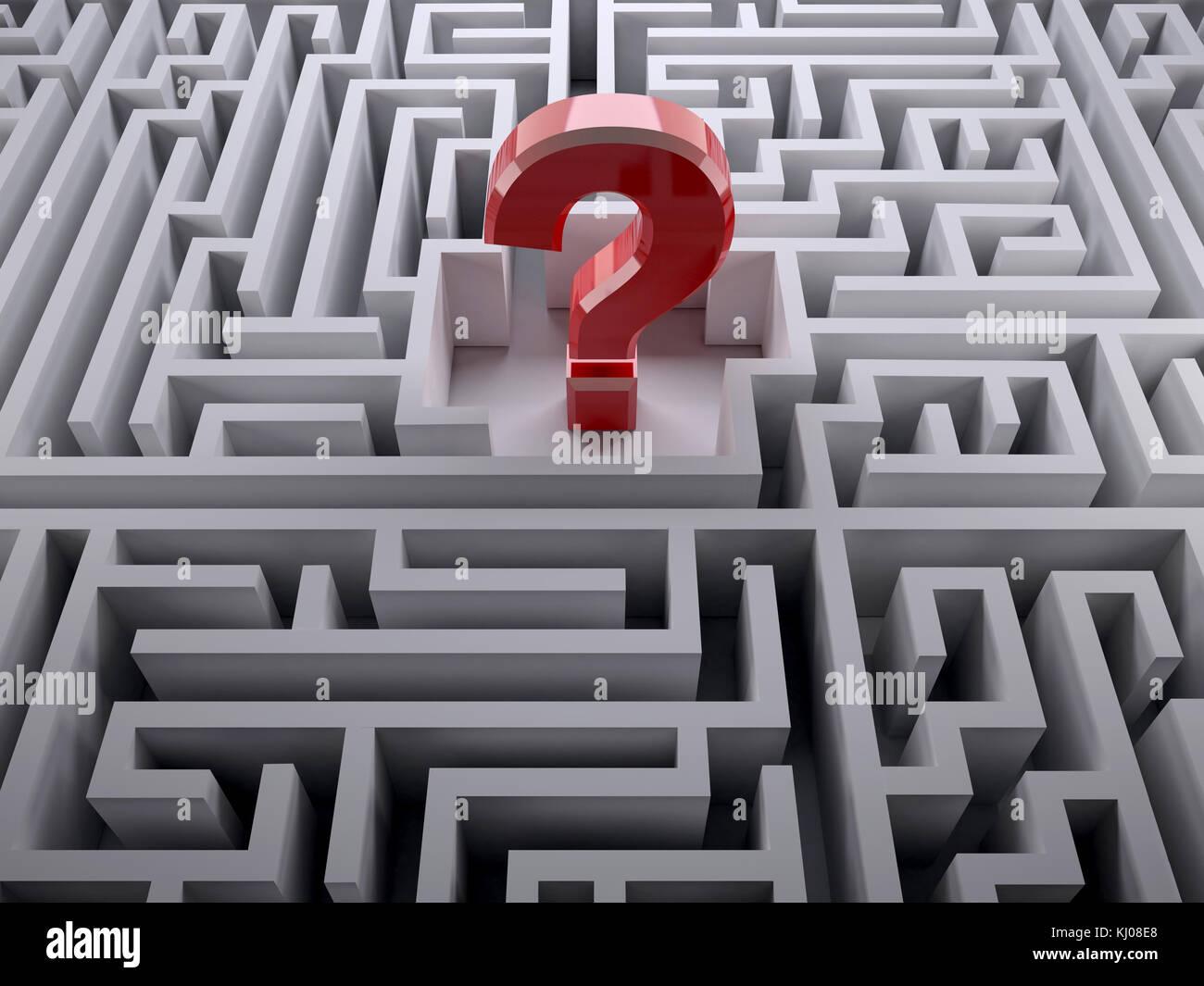 Punto interrogativo rosso all'interno del labirinto, 3d illustrazione Immagini Stock