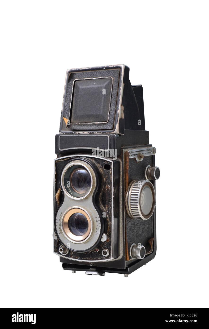 Telecamera di antiquariato su sfondo bianco Immagini Stock