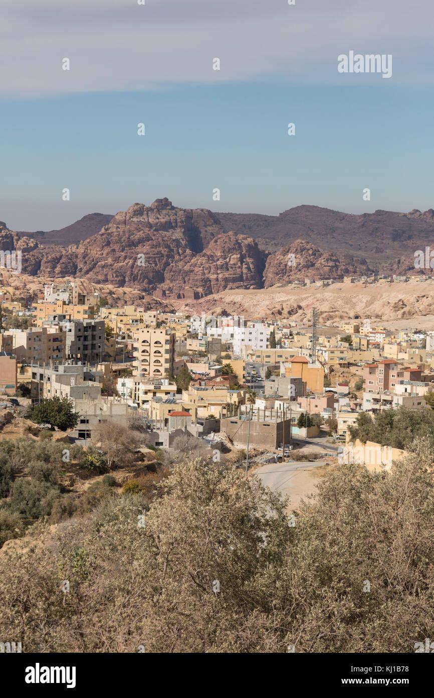 Wadi Musa, piccola cittadina vicino a Petra, Giordania Immagini Stock