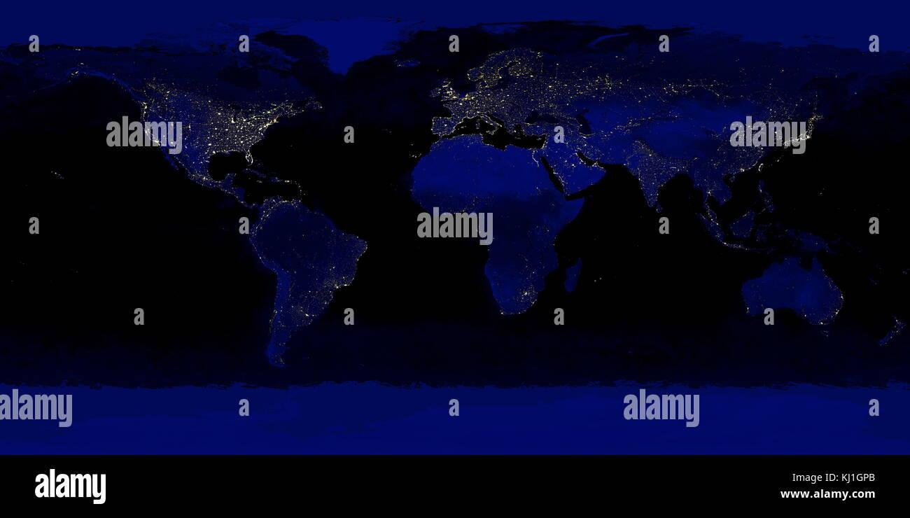 Dettagliata di vera immagine a colori di tutta la terra di notte. utilizzando una collezione di basato su satellite, Immagini Stock