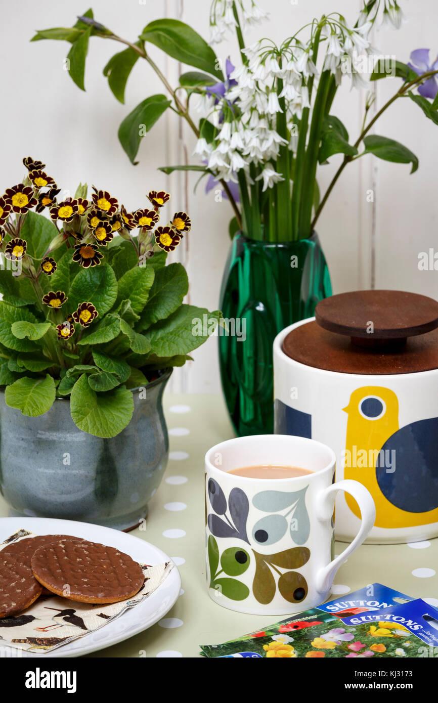 Il tè del pomeriggio e i biscotti in una soleggiata primavera home Immagini Stock